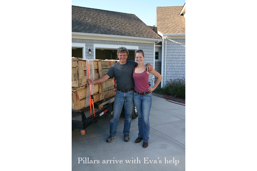 Pillars arrive with Eva's help