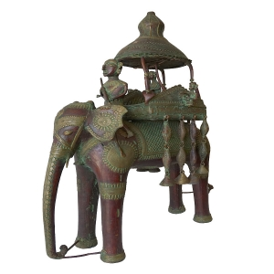 Large Dokra casting of Elephant and Howdah