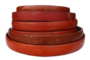 red lacquered wooden bowls
