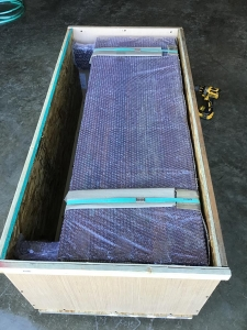wooden bench in the crate