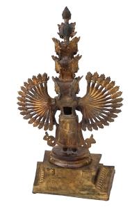 backside detail of vintage padmapani avalokiteshvara, Tibetan deity made of copper with gold dust.