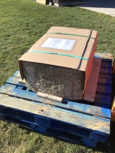 stone basin palleted and ready to ship