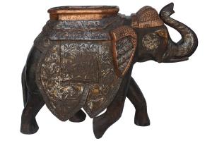 copper & teak elephant