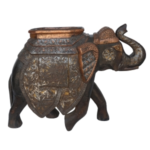 Metal Embossed Wooden Elephant