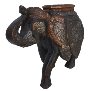 copper & teak elephant