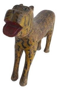 painted carved teak tiger