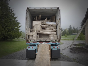 Unloading the first container from India for StoneHouse Artifacts