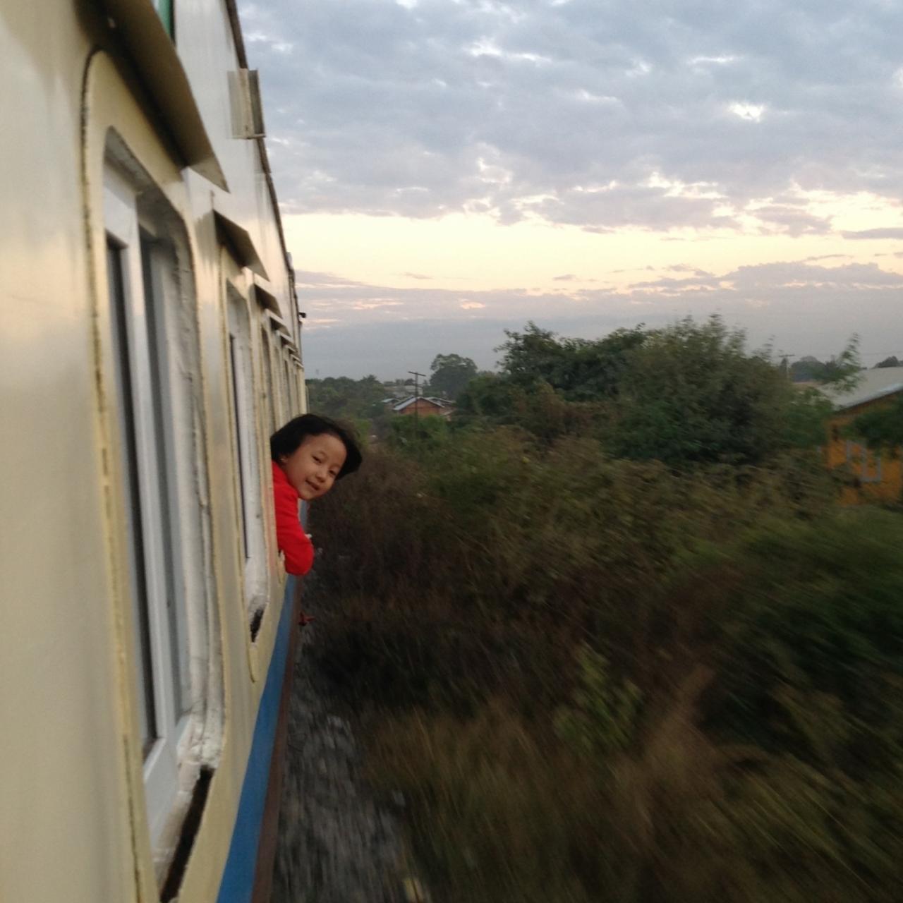 young girl on train to Myitkyina