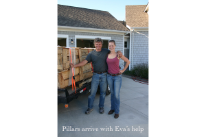 Pillars arrive with Eva's help