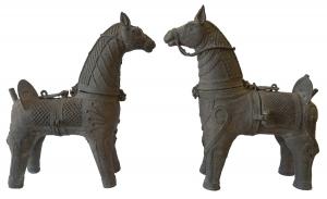 pair of antique bronze horses