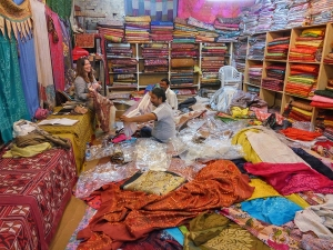 Buying textiles in Rajasthan