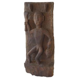 Carved Naga man panel