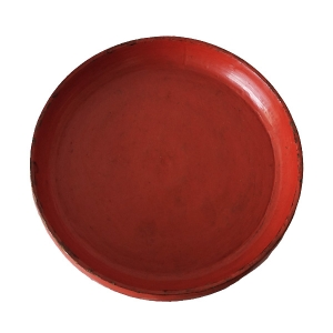 Old wooden tray with red lacquer