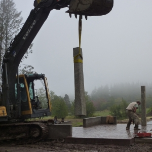 Setting the pillars for Stone House