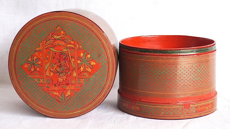 red Burmese lacquerware