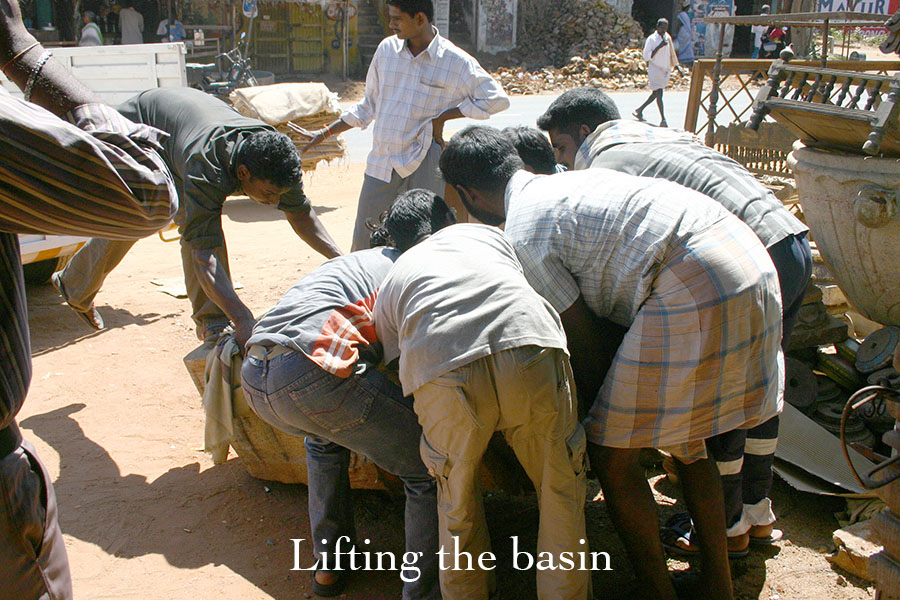 lifting the granite basin