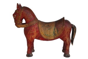 red painted wooden horse