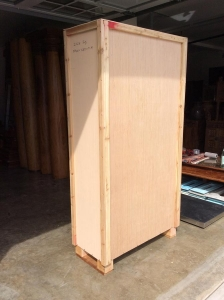 tall cabinet crated and ready to ship
