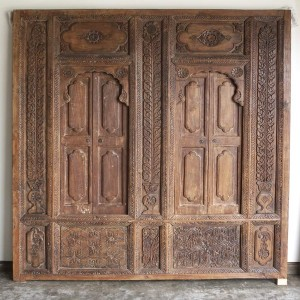 Carved teak wall panel