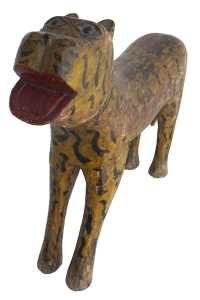 painted carved teak tiger