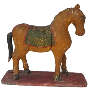 wooden yellow painted horse